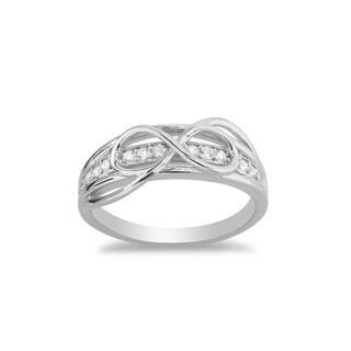 La Preciosa Sterling Silver CZ Detail Infinity Figure 8 Ring