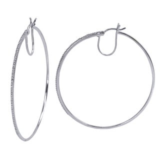 Divina Sterling Silver 1/10 ct Diamond Encrusted Hoop Earrings