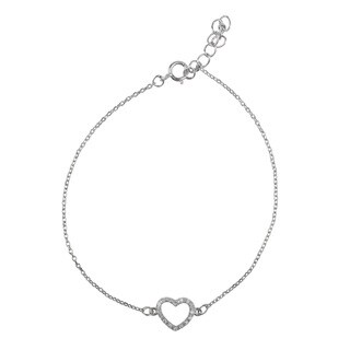Journee Collection Sterling Silver Cubic Zirconia Heart Bracelet