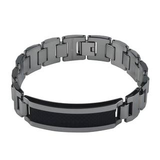 Vance Co. Tungsten Men's Carbon Fiber Inlay Link Bracelet