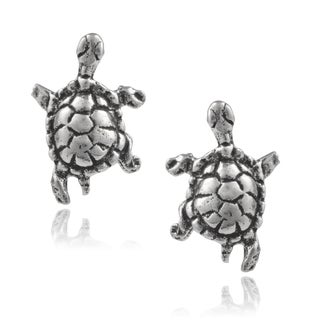 Journee Collection Sterling Silver Handcrafted Turtle Stud Earrings