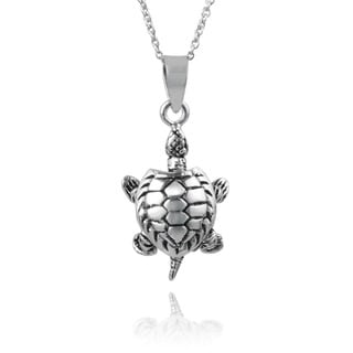 Journee Collection Sterling Silver Handcrafted Turtle Necklace