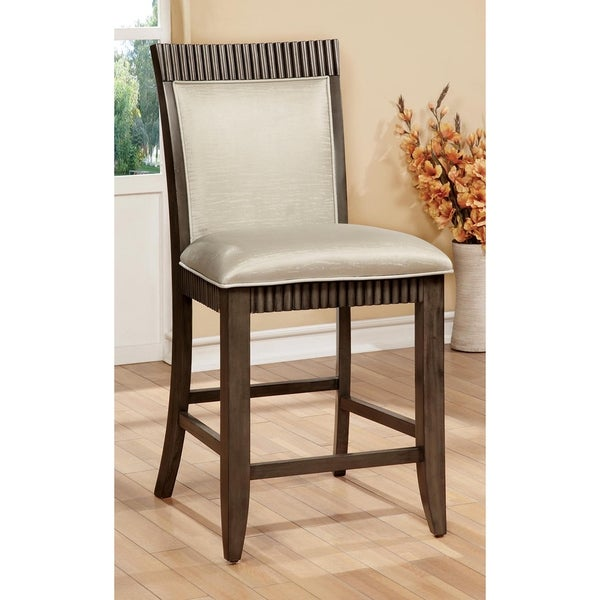 Furniture of America Dram Rustic Grey Counter Chairs Set of 2