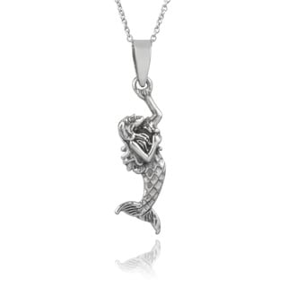 Journee Collection Sterling Silver Handcrafted Mermaid Pendant