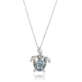 Journee Collection Sterling Silver Handcrafted Shell Turtle Pendant
