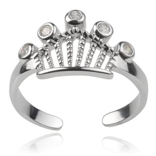 Journee Collection Sterling Silver Cubic Zirconia Adjustable Crown Toe Ring