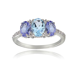 Glitzy Rocks Sterling Silver White Topaz and Aquamarine and Tanzanite 3-stone Ring