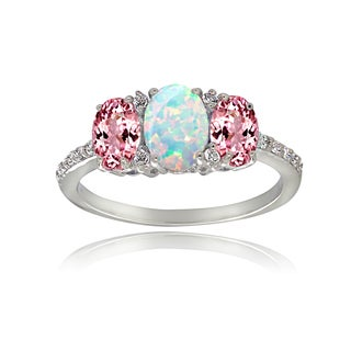 Glitzy Rocks Sterling Silver White Topaz and Pink Tourmaline and Created Opal 3-stone Ring