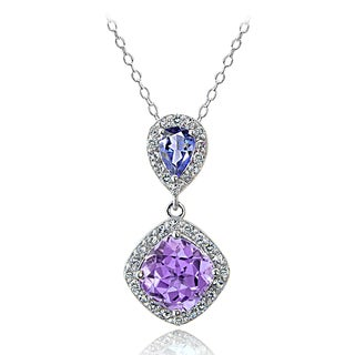 Glitzy Rocks Sterling Silver Amethyst and Tanzanite and White Topaz Drop Necklace
