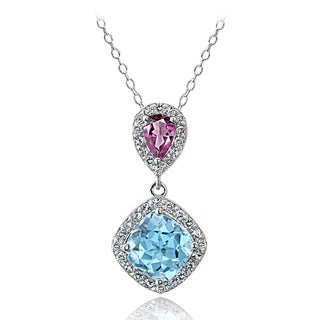 Glitzy Rocks Sterling Silver Blue Topaz and Pink Tourmaline and White Topaz Dangle Necklace