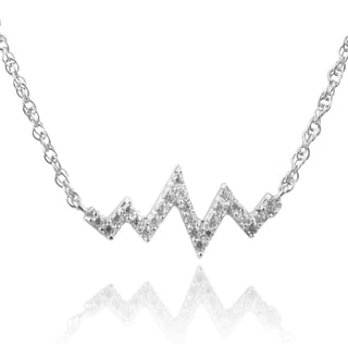 Journee Collection Sterling Silver Cubic Zirconia Heart Beat Necklace