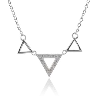 Journee Collection Sterling Silver Cubic Zirconia Triangle Pendant
