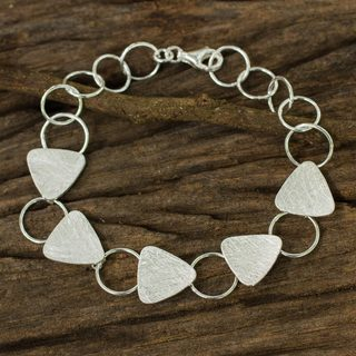 Handmade Sterling Silver 'Triangle Chain' Bracelet (Thailand)