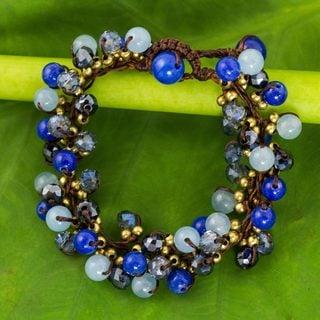 Handmade Brass 'Blue Cattlelaya' Quartz Bracelet (Thailand)