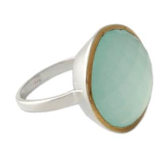 Modern 7.5 Carat Checkerboard Cut Chalcedony Gemstone with 18K Gold Plate Over 925 Sterling Silver Womens Statement Ring (India)