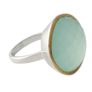 Handmade Modern Checkerboard Cut Chalcedony Gemstone Gold plate Sterling Silver Womens Statement Ring (India)