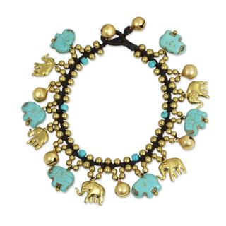 Handcrafted Brass 'Elephant World' Calcite Bracelet (Thailand)