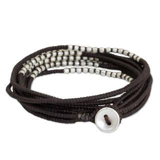 Handmade Sterling Silver Overlay 'Karen Brown Chic' Bracelet (Thailand)