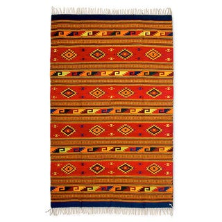 Handcrafted Zapotec Wool 'Mitla Butterflies' Rug 6.5x10 (Mexico)