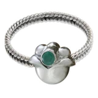 Sterling Silver 'May Lily of The Valley' Emerald Ring (Indonesia)