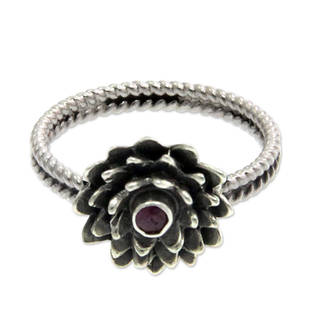 Handcrafted Sterling Silver 'July Water Lily' Ruby Ring (Indonesia)