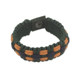 Handcrafted Men's Recycled Paper 'Golden Dot' Bracelet (Ghana)