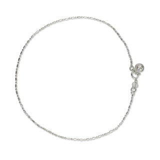 Handmade Sterling Silver 'Simple Happiness' Anklet (Thailand)
