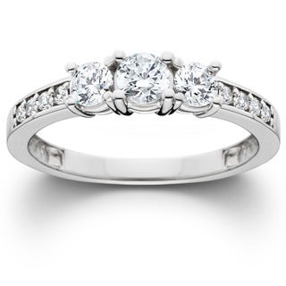 14k White Gold 1 ct TDW Diamond 3-stone Engagement Ring (I-J, I2-I3)