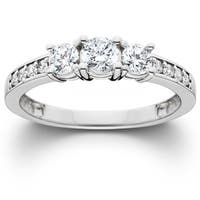 14k White Gold 1 ct TDW Diamond 3-stone Engagement Ring