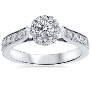 14k White Gold 7/8ct TDW Halo Diamond Engagement Ring