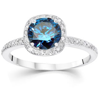 14k White Gold 1 1/4ct TDW Blue and White Diamond Halo Engagement Ring