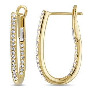 Miadora 14k Yellow Gold 1/4ct TDW Diamond Hoop Earrings (G-H, SI1-Si2)