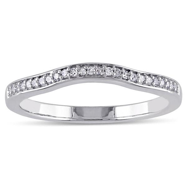 Miadora 14k White Gold 1/10ct TDW Diamond Contour Stackable Anniversary Style Wedding Band