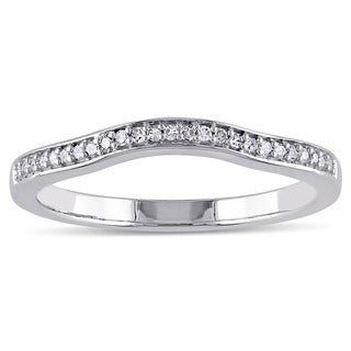 Miadora 14k White Gold 1/10ct TDW Diamond Contour Stackable Anniversary Style Wedding Band