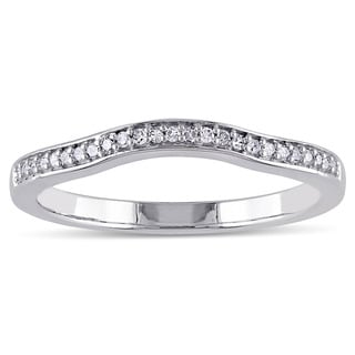 Miadora 14k White Gold 1/10ct TDW Diamond Contour Stackable Anniversary Style Wedding Band (G-H, I2-I3)