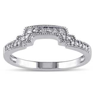 Miadora 10k White Gold 1/10ct TDW Diamond Contour Stackable Wedding Band Ring