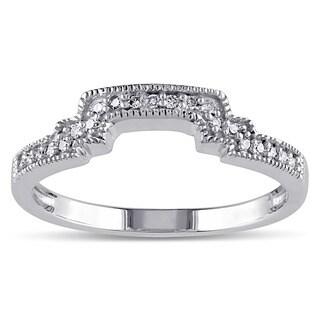 Miadora 10k White Gold 1/10ct TDW Diamond Contour Stackable Wedding Band Ring