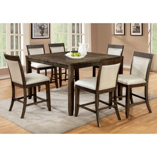 Furniture of America Mariselle 7-Piece Urban Grey Counter Height Dining Set