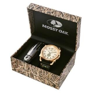 Mossy Oak Men's MOW075G-BK-SET Camo Black Watch with Pocket Knife Key Chain Set