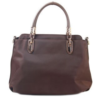 Brown Faux Leather Bowler-Style Handbag