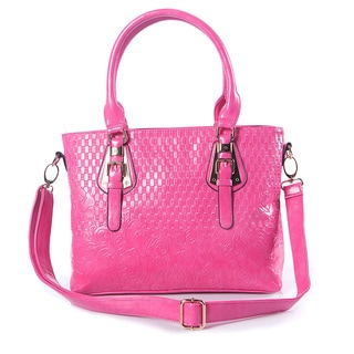 Quilted Fuchsia Faux Leather Tote