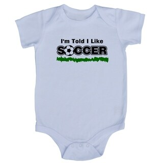 Rocket Bug White Cotton 'I'm Told I Like Soccer' Baby Bodysuit