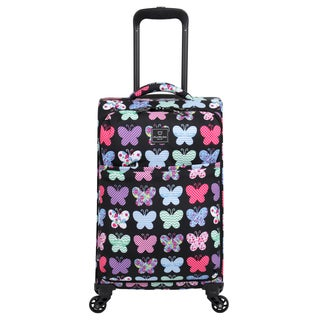 French West Indies 20-inch Carry-On Spinner Upright Butterfly Suitcase