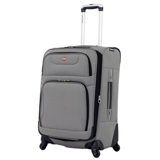 SwissGear 24-inch Medium Spinner Upright Pewter Suitcase