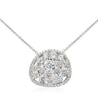 Sterling Silver Round-cut Cubic Zirconia Cluster Necklace