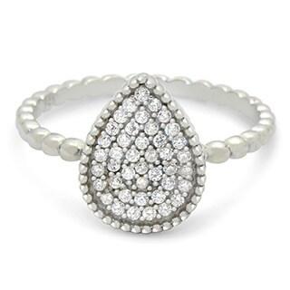 Sterling Silver Cubic Zirconia Beaded Teardrop Ring
