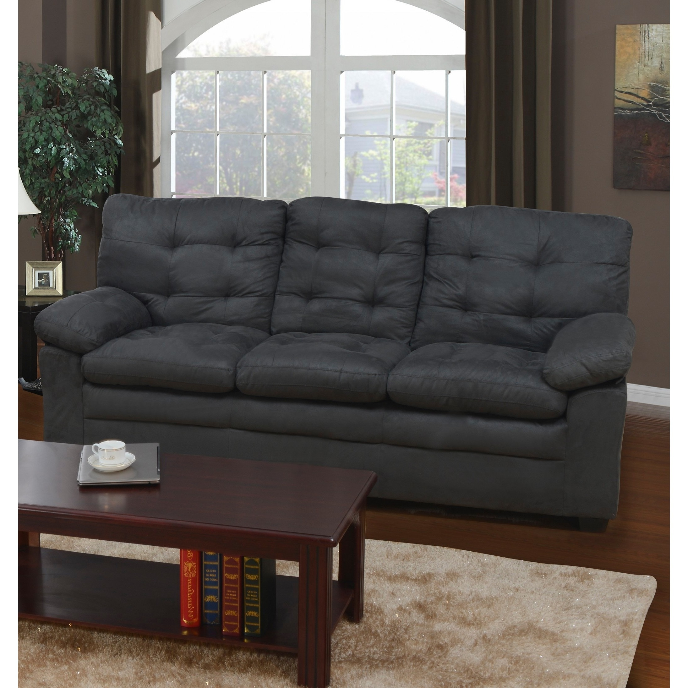 Picture of: Shop Grey Microfiber Tufted Sofa Free Shipping Today Overstock 9929665