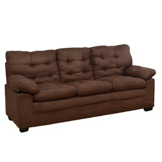 Chocolate Microfiber Tufted Sofa