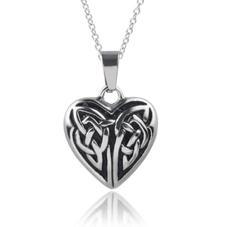 Journee Collection Stainless Steel Celtic Heart Pendant
