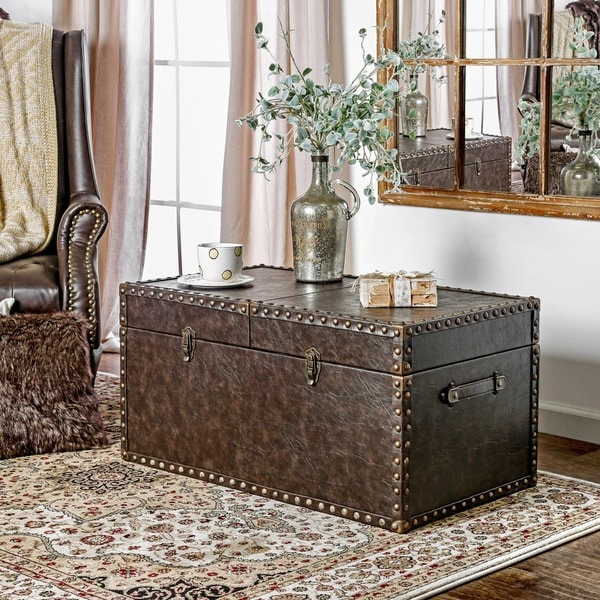 Furniture of America Tannell Antique Brown Leatherette Storage Trunk - Shop Furniture Of America Tannell Antique Brown Leatherette Storage
